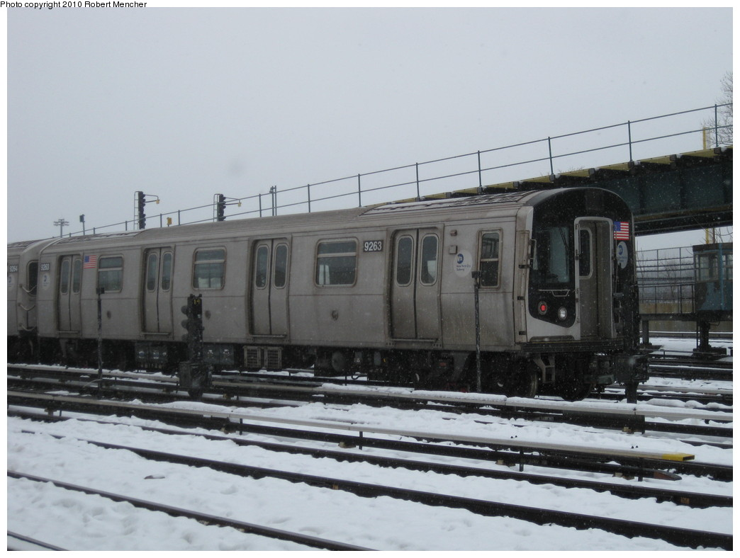 (175k, 1044x788)<br><b>Country:</b> United States<br><b>City:</b> New York<br><b>System:</b> New York City Transit<br><b>Location:</b> Coney Island Yard<br><b>Car:</b> R-160A (Option 1) (Alstom, 2008-2009, 5 car sets)  9263 <br><b>Photo by:</b> Robert Mencher<br><b>Date:</b> 2/16/2010<br><b>Viewed (this week/total):</b> 1 / 344