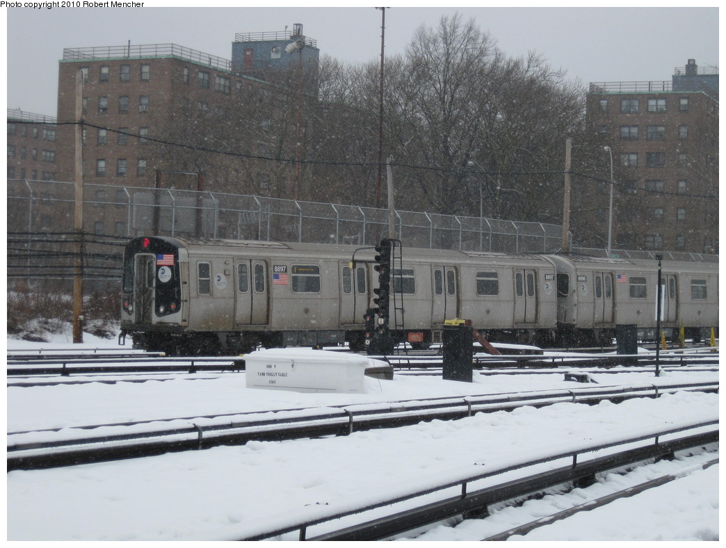 (219k, 1044x788)<br><b>Country:</b> United States<br><b>City:</b> New York<br><b>System:</b> New York City Transit<br><b>Location:</b> Coney Island Yard<br><b>Route:</b> N<br><b>Car:</b> R-160B (Kawasaki, 2005-2008)  8897 <br><b>Photo by:</b> Robert Mencher<br><b>Date:</b> 2/16/2010<br><b>Viewed (this week/total):</b> 0 / 376