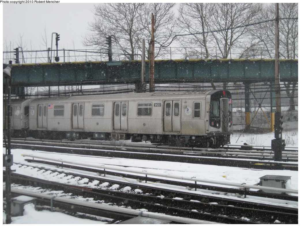 (280k, 1044x788)<br><b>Country:</b> United States<br><b>City:</b> New York<br><b>System:</b> New York City Transit<br><b>Location:</b> Coney Island Yard<br><b>Route:</b> N<br><b>Car:</b> R-160B (Option 1) (Kawasaki, 2008-2009)  9123 <br><b>Photo by:</b> Robert Mencher<br><b>Date:</b> 2/16/2010<br><b>Viewed (this week/total):</b> 0 / 895