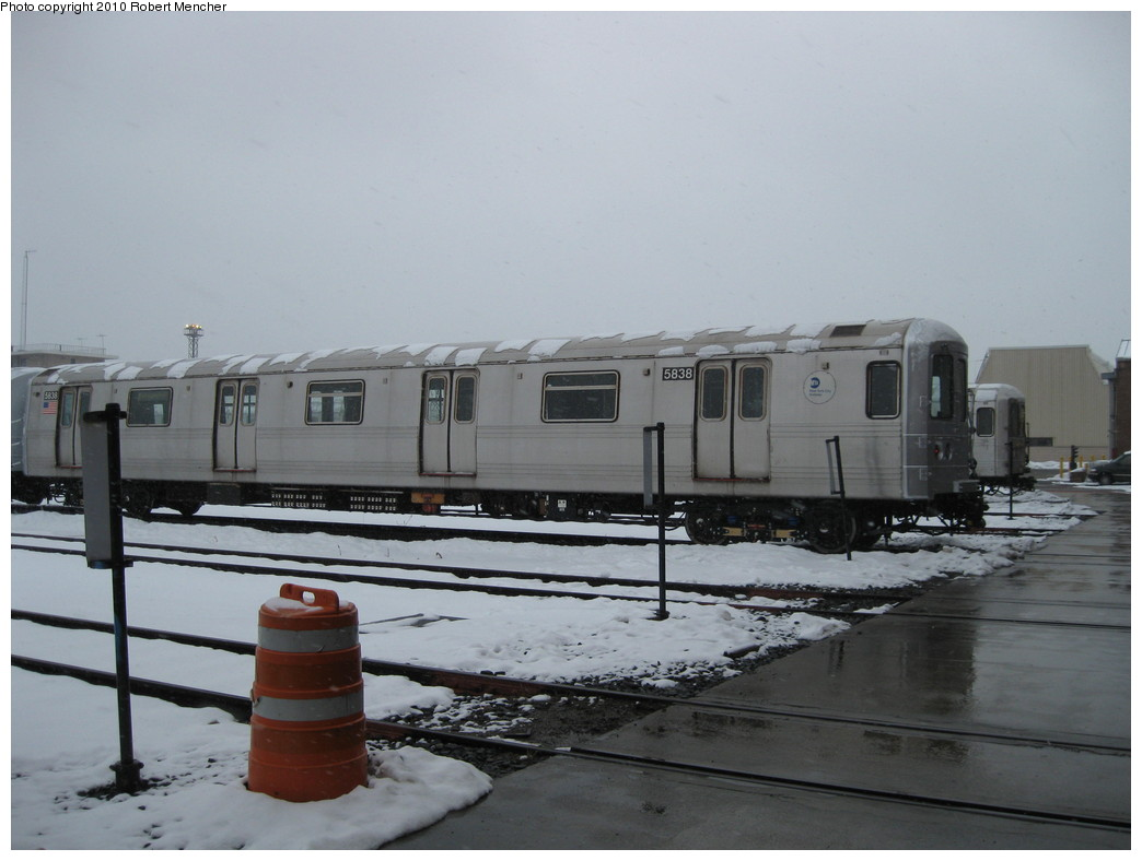 (161k, 1044x788)<br><b>Country:</b> United States<br><b>City:</b> New York<br><b>System:</b> New York City Transit<br><b>Location:</b> Coney Island Yard<br><b>Car:</b> R-46 (Pullman-Standard, 1974-75) 5838 <br><b>Photo by:</b> Robert Mencher<br><b>Date:</b> 2/16/2010<br><b>Viewed (this week/total):</b> 3 / 352