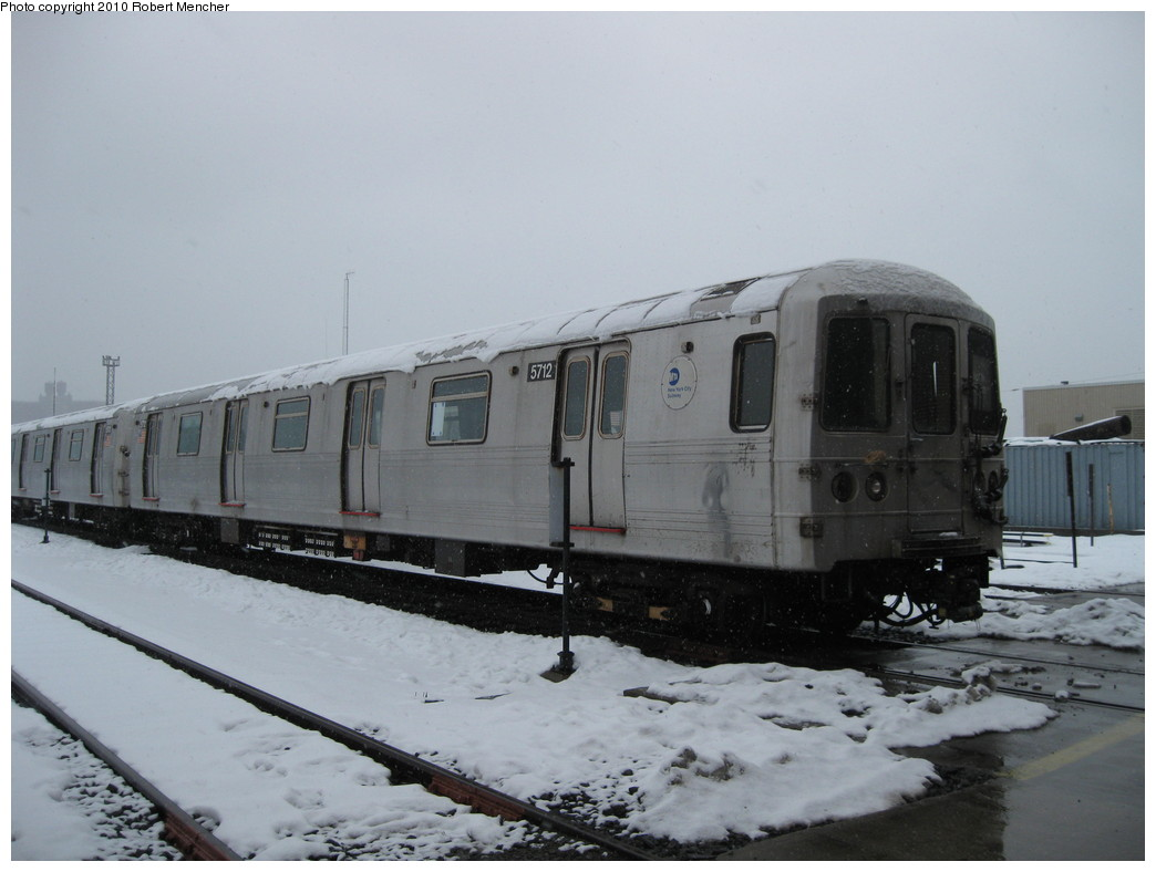 (162k, 1044x788)<br><b>Country:</b> United States<br><b>City:</b> New York<br><b>System:</b> New York City Transit<br><b>Location:</b> Coney Island Yard<br><b>Car:</b> R-46 (Pullman-Standard, 1974-75) 5712 <br><b>Photo by:</b> Robert Mencher<br><b>Date:</b> 2/16/2010<br><b>Viewed (this week/total):</b> 4 / 628