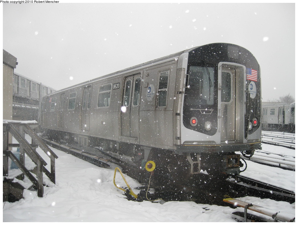 (210k, 1044x788)<br><b>Country:</b> United States<br><b>City:</b> New York<br><b>System:</b> New York City Transit<br><b>Location:</b> East New York Yard/Shops<br><b>Car:</b> R-160A-1 (Alstom, 2005-2008, 4 car sets)  8520 <br><b>Photo by:</b> Robert Mencher<br><b>Date:</b> 2/16/2010<br><b>Viewed (this week/total):</b> 0 / 608
