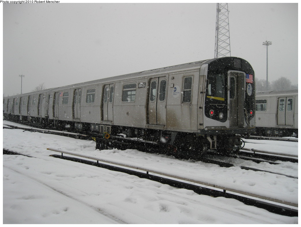 (173k, 1044x788)<br><b>Country:</b> United States<br><b>City:</b> New York<br><b>System:</b> New York City Transit<br><b>Location:</b> East New York Yard/Shops<br><b>Car:</b> R-160A-1 (Alstom, 2005-2008, 4 car sets)  8605 <br><b>Photo by:</b> Robert Mencher<br><b>Date:</b> 2/16/2010<br><b>Viewed (this week/total):</b> 0 / 647