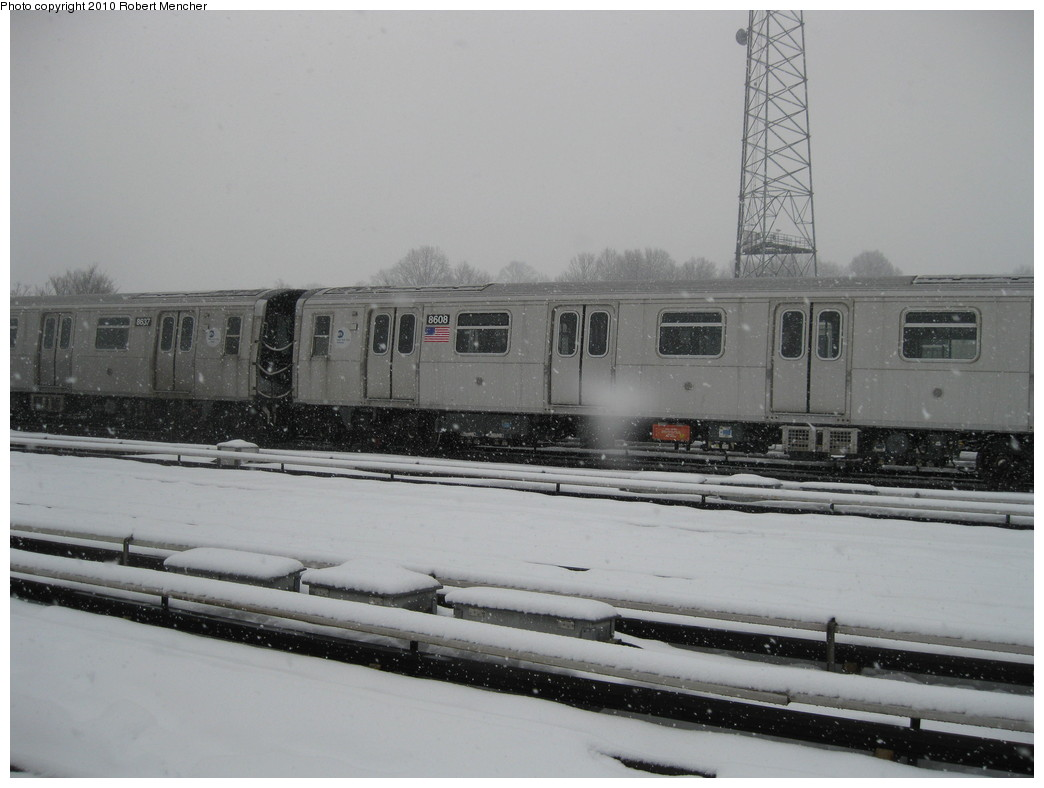 (162k, 1044x788)<br><b>Country:</b> United States<br><b>City:</b> New York<br><b>System:</b> New York City Transit<br><b>Location:</b> East New York Yard/Shops<br><b>Car:</b> R-160A-1 (Alstom, 2005-2008, 4 car sets)  8608 <br><b>Photo by:</b> Robert Mencher<br><b>Date:</b> 2/16/2010<br><b>Viewed (this week/total):</b> 0 / 293