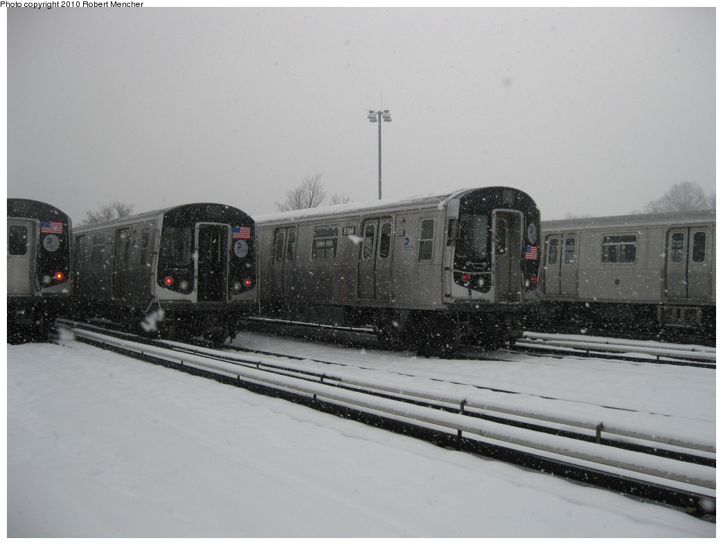 (162k, 1044x788)<br><b>Country:</b> United States<br><b>City:</b> New York<br><b>System:</b> New York City Transit<br><b>Location:</b> East New York Yard/Shops<br><b>Car:</b> R-143 (Kawasaki, 2001-2002) 8196 <br><b>Photo by:</b> Robert Mencher<br><b>Date:</b> 2/16/2010<br><b>Viewed (this week/total):</b> 1 / 295