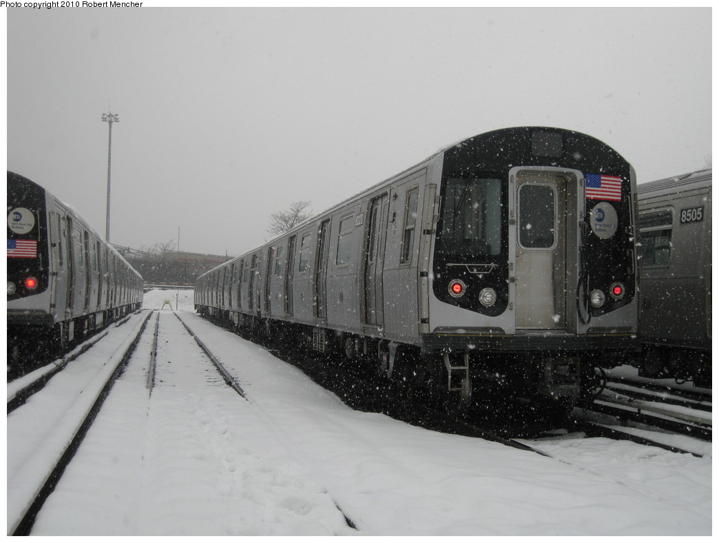 (167k, 1044x788)<br><b>Country:</b> United States<br><b>City:</b> New York<br><b>System:</b> New York City Transit<br><b>Location:</b> East New York Yard/Shops<br><b>Car:</b> R-160A-1 (Alstom, 2005-2008, 4 car sets)  8320 <br><b>Photo by:</b> Robert Mencher<br><b>Date:</b> 2/16/2010<br><b>Viewed (this week/total):</b> 0 / 414