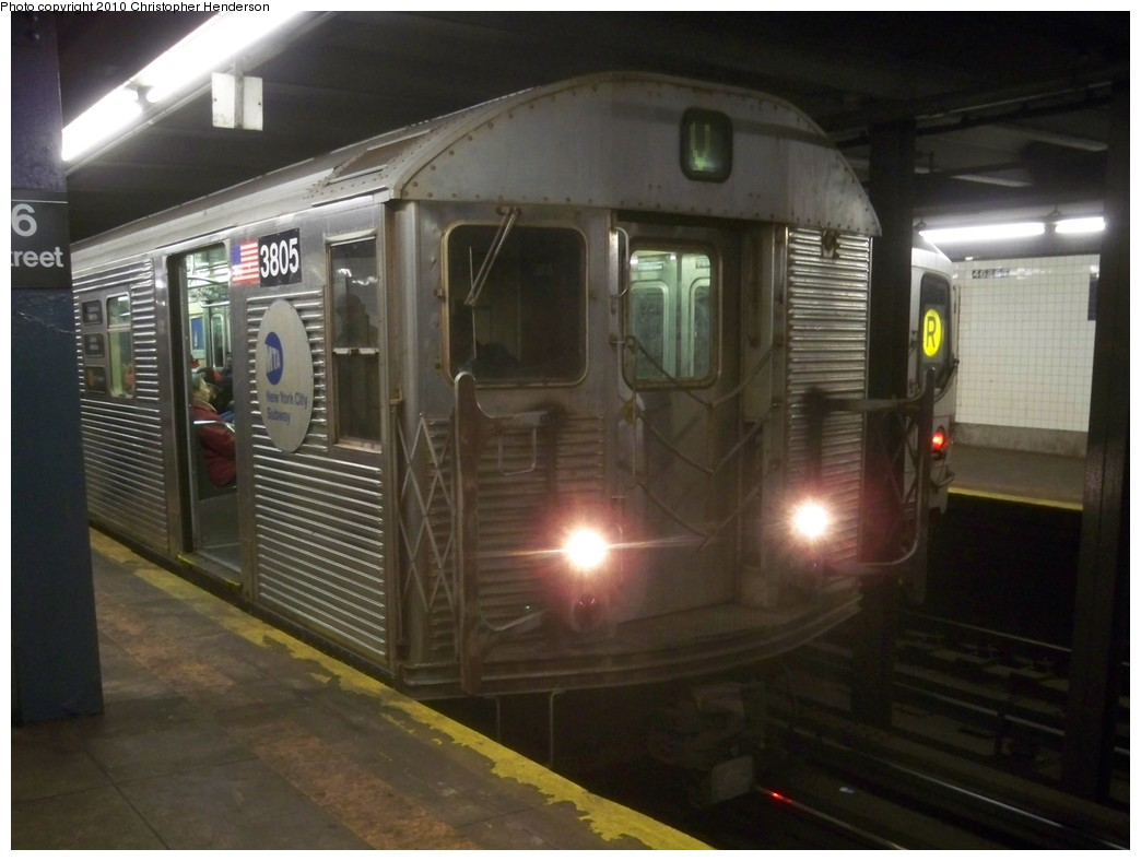 (171k, 1044x788)<br><b>Country:</b> United States<br><b>City:</b> New York<br><b>System:</b> New York City Transit<br><b>Line:</b> IND Queens Boulevard Line<br><b>Location:</b> 46th Street <br><b>Route:</b> V<br><b>Car:</b> R-32 (Budd, 1964)  3805 <br><b>Photo by:</b> Christopher Henderson<br><b>Date:</b> 2/17/2010<br><b>Viewed (this week/total):</b> 3 / 711
