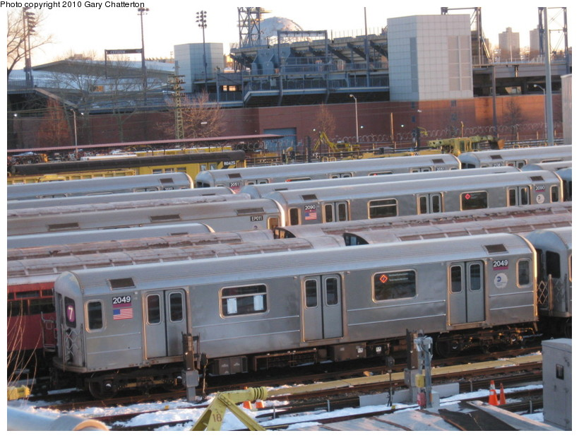 (155k, 820x620)<br><b>Country:</b> United States<br><b>City:</b> New York<br><b>System:</b> New York City Transit<br><b>Location:</b> Corona Yard<br><b>Car:</b> R-62A (Bombardier, 1984-1987)  2049 <br><b>Photo by:</b> Gary Chatterton<br><b>Date:</b> 2/19/2010<br><b>Viewed (this week/total):</b> 7 / 845