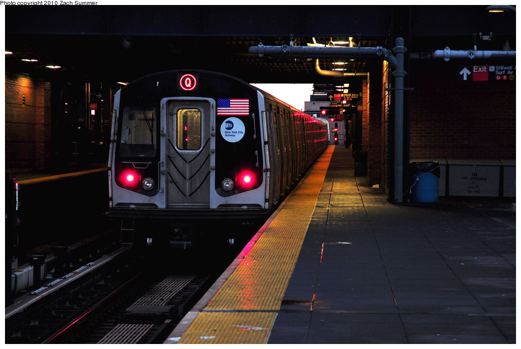 (220k, 1044x700)<br><b>Country:</b> United States<br><b>City:</b> New York<br><b>System:</b> New York City Transit<br><b>Location:</b> Coney Island/Stillwell Avenue<br><b>Route:</b> Q<br><b>Car:</b> R-160B (Option 1) (Kawasaki, 2008-2009)  9108 <br><b>Photo by:</b> Zach Summer<br><b>Date:</b> 1/13/2010<br><b>Viewed (this week/total):</b> 2 / 505