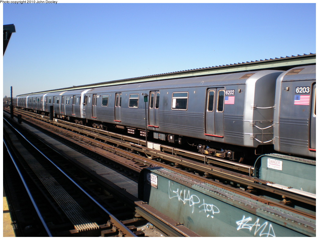 (229k, 1044x788)<br><b>Country:</b> United States<br><b>City:</b> New York<br><b>System:</b> New York City Transit<br><b>Line:</b> IND Fulton Street Line<br><b>Location:</b> Rockaway Boulevard <br><b>Route:</b> A<br><b>Car:</b> R-46 (Pullman-Standard, 1974-75) 6202 <br><b>Photo by:</b> John Dooley<br><b>Date:</b> 3/6/2010<br><b>Viewed (this week/total):</b> 0 / 323