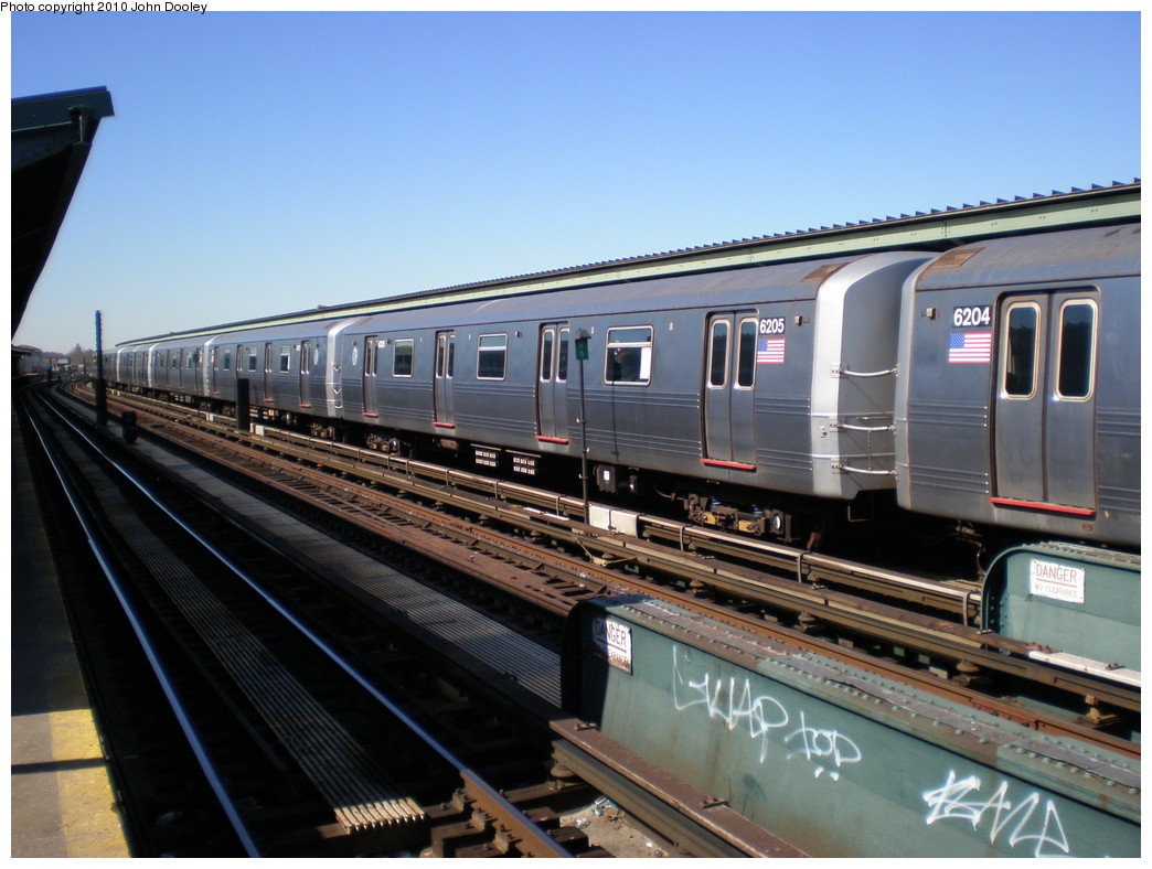 (217k, 1044x788)<br><b>Country:</b> United States<br><b>City:</b> New York<br><b>System:</b> New York City Transit<br><b>Line:</b> IND Fulton Street Line<br><b>Location:</b> Rockaway Boulevard <br><b>Route:</b> A<br><b>Car:</b> R-46 (Pullman-Standard, 1974-75) 6205 <br><b>Photo by:</b> John Dooley<br><b>Date:</b> 3/6/2010<br><b>Viewed (this week/total):</b> 3 / 393