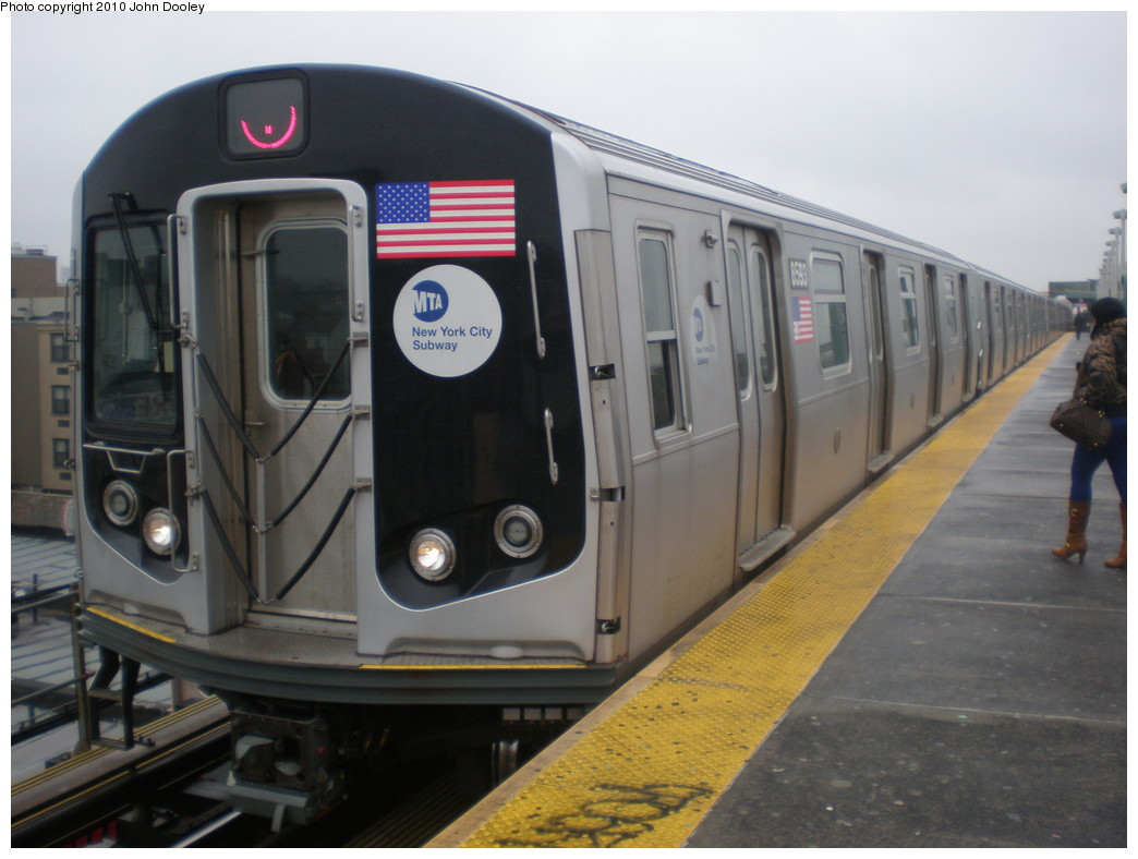 (185k, 1044x788)<br><b>Country:</b> United States<br><b>City:</b> New York<br><b>System:</b> New York City Transit<br><b>Line:</b> BMT Nassau Street/Jamaica Line<br><b>Location:</b> Alabama Avenue <br><b>Route:</b> J<br><b>Car:</b> R-160A-1 (Alstom, 2005-2008, 4 car sets)  8593 <br><b>Photo by:</b> John Dooley<br><b>Date:</b> 2/24/2010<br><b>Viewed (this week/total):</b> 1 / 433