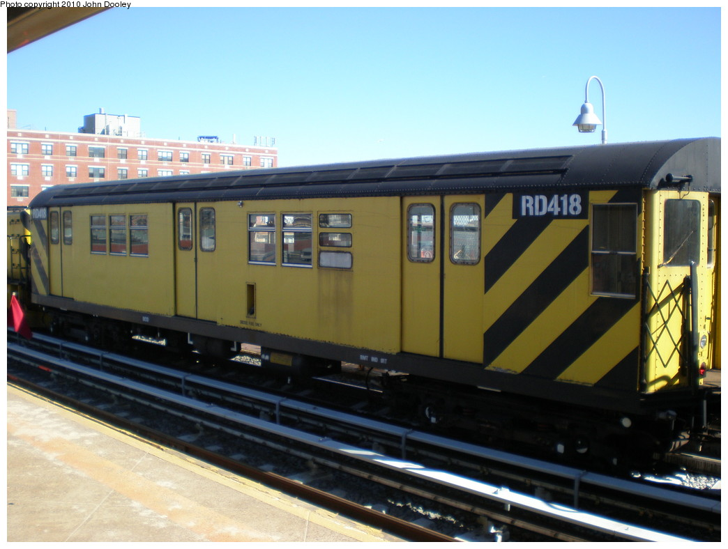 (195k, 1044x788)<br><b>Country:</b> United States<br><b>City:</b> New York<br><b>System:</b> New York City Transit<br><b>Line:</b> IND Rockaway<br><b>Location:</b> Beach 98th Street/Playland <br><b>Route:</b> Work Service<br><b>Car:</b> R-161 Rider Car (ex-R-33)  RD418 <br><b>Photo by:</b> John Dooley<br><b>Date:</b> 3/6/2010<br><b>Viewed (this week/total):</b> 2 / 207