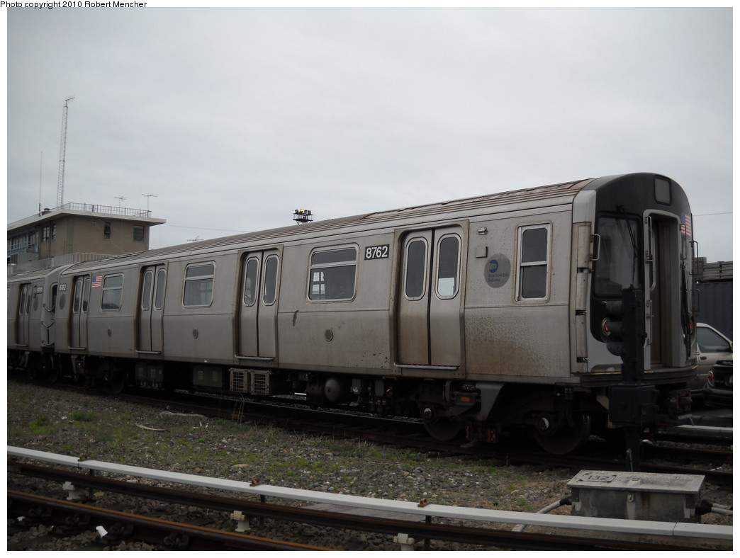 (187k, 1044x788)<br><b>Country:</b> United States<br><b>City:</b> New York<br><b>System:</b> New York City Transit<br><b>Location:</b> Coney Island Yard<br><b>Car:</b> R-160B (Kawasaki, 2005-2008)  8762 <br><b>Photo by:</b> Robert Mencher<br><b>Date:</b> 4/16/2010<br><b>Viewed (this week/total):</b> 1 / 255