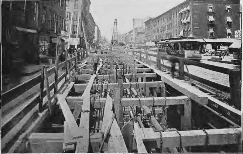 (126k, 800x510)<br><b>Country:</b> United States<br><b>City:</b> New York<br><b>System:</b> New York City Transit<br><b>Line:</b> IRT (Early Views of Construction)<br><b>Collection of:</b> Board of Rapid Transit Railroad Commissioners - File Photo<br><b>Date:</b> 1901<br><b>Notes:</b> Construction of Subway on one side of Fourth Avenue (Report of the Board, 1901)<br><b>Viewed (this week/total):</b> 5 / 717