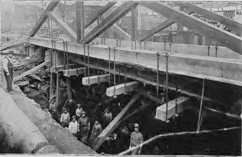 (108k, 800x519)<br><b>Country:</b> United States<br><b>City:</b> New York<br><b>System:</b> New York City Transit<br><b>Line:</b> IRT (Early Views of Construction)<br><b>Collection of:</b> Board of Rapid Transit Railroad Commissioners - File Photo<br><b>Date:</b> 1901<br><b>Notes:</b> Excavation for Subway in progress under Metropolitan Street Railway Tracks (Report of the Board, 1901)<br><b>Viewed (this week/total):</b> 2 / 794