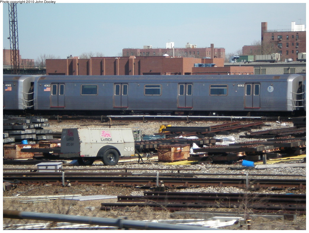 (249k, 1044x788)<br><b>Country:</b> United States<br><b>City:</b> New York<br><b>System:</b> New York City Transit<br><b>Location:</b> Coney Island Yard<br><b>Car:</b> R-46 (Pullman-Standard, 1974-75) 6063 <br><b>Photo by:</b> John Dooley<br><b>Date:</b> 3/16/2010<br><b>Viewed (this week/total):</b> 3 / 360
