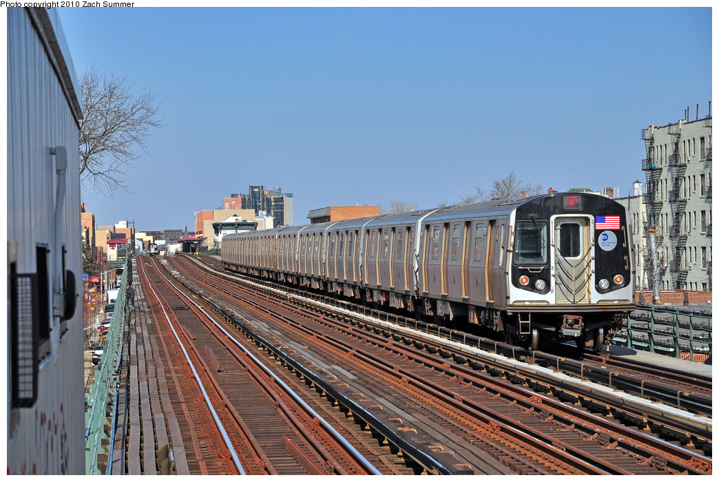 (311k, 1044x700)<br><b>Country:</b> United States<br><b>City:</b> New York<br><b>System:</b> New York City Transit<br><b>Line:</b> BMT Astoria Line<br><b>Location:</b> 36th/Washington Aves. <br><b>Route:</b> N<br><b>Car:</b> R-160B (Kawasaki, 2005-2008)  8937 <br><b>Photo by:</b> Zach Summer<br><b>Date:</b> 3/7/2010<br><b>Viewed (this week/total):</b> 1 / 553