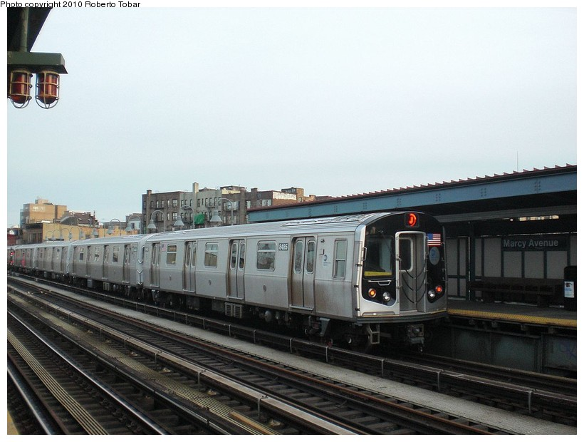 (158k, 820x620)<br><b>Country:</b> United States<br><b>City:</b> New York<br><b>System:</b> New York City Transit<br><b>Line:</b> BMT Nassau Street/Jamaica Line<br><b>Location:</b> Marcy Avenue <br><b>Route:</b> J<br><b>Car:</b> R-160A-1 (Alstom, 2005-2008, 4 car sets)  8485 <br><b>Photo by:</b> Roberto C. Tobar<br><b>Date:</b> 3/27/2010<br><b>Viewed (this week/total):</b> 4 / 524