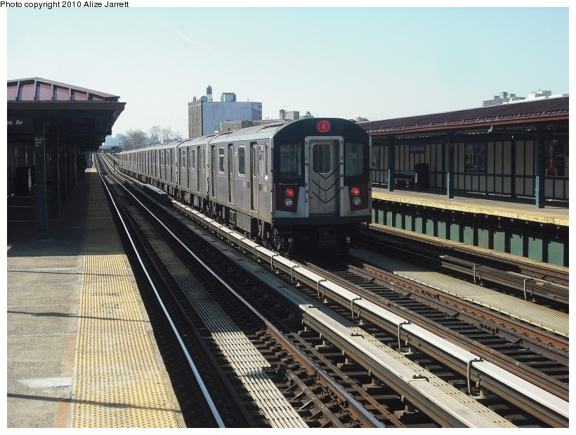 (163k, 820x620)<br><b>Country:</b> United States<br><b>City:</b> New York<br><b>System:</b> New York City Transit<br><b>Line:</b> IRT Woodlawn Line<br><b>Location:</b> Mt. Eden Avenue <br><b>Route:</b> 4<br><b>Car:</b> R-142 or R-142A (Number Unknown)  <br><b>Photo by:</b> Alize Jarrett<br><b>Date:</b> 3/7/2010<br><b>Viewed (this week/total):</b> 2 / 867