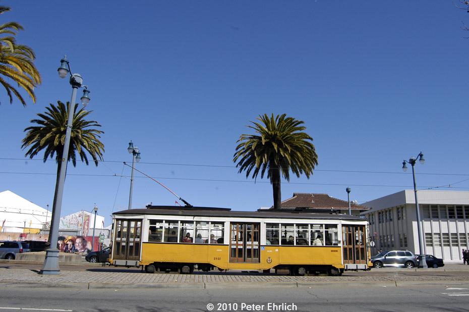 (152k, 930x618)<br><b>Country:</b> United States<br><b>City:</b> San Francisco/Bay Area, CA<br><b>System:</b> SF MUNI<br><b>Location:</b> Embarcadero/Sansome <br><b>Car:</b> Milan Milano/Peter Witt (1927-1930)  1811 <br><b>Photo by:</b> Peter Ehrlich<br><b>Date:</b> 3/13/2010<br><b>Notes:</b> Outbound.<br><b>Viewed (this week/total):</b> 0 / 243