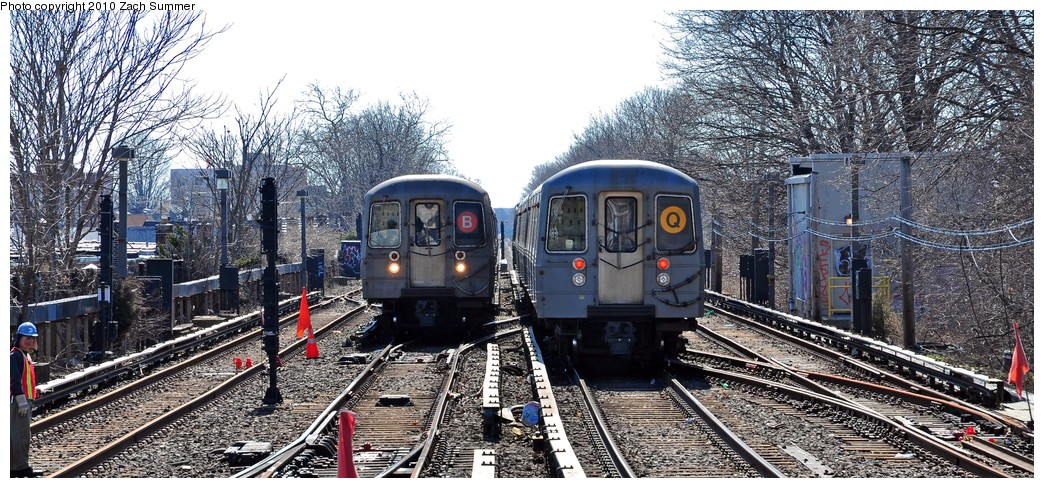 (265k, 1044x488)<br><b>Country:</b> United States<br><b>City:</b> New York<br><b>System:</b> New York City Transit<br><b>Line:</b> BMT Brighton Line<br><b>Location:</b> Kings Highway <br><b>Route:</b> Q<br><b>Car:</b> R-68A (Kawasaki, 1988-1989)  5172 <br><b>Photo by:</b> Zach Summer<br><b>Date:</b> 3/9/2010<br><b>Notes:</b> With R68 2904 on the B<br><b>Viewed (this week/total):</b> 3 / 680