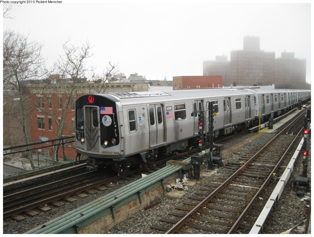 (250k, 1044x788)<br><b>Country:</b> United States<br><b>City:</b> New York<br><b>System:</b> New York City Transit<br><b>Line:</b> BMT Nassau Street/Jamaica Line<br><b>Location:</b> Broadway/East New York (Broadway Junction) <br><b>Route:</b> J<br><b>Car:</b> R-160A-1 (Alstom, 2005-2008, 4 car sets)  8496 <br><b>Photo by:</b> Robert Mencher<br><b>Date:</b> 4/3/2010<br><b>Viewed (this week/total):</b> 0 / 681