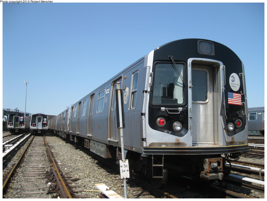 (211k, 1044x788)<br><b>Country:</b> United States<br><b>City:</b> New York<br><b>System:</b> New York City Transit<br><b>Location:</b> East New York Yard/Shops<br><b>Car:</b> R-143 (Kawasaki, 2001-2002) 8232 <br><b>Photo by:</b> Robert Mencher<br><b>Date:</b> 4/4/2010<br><b>Viewed (this week/total):</b> 0 / 533