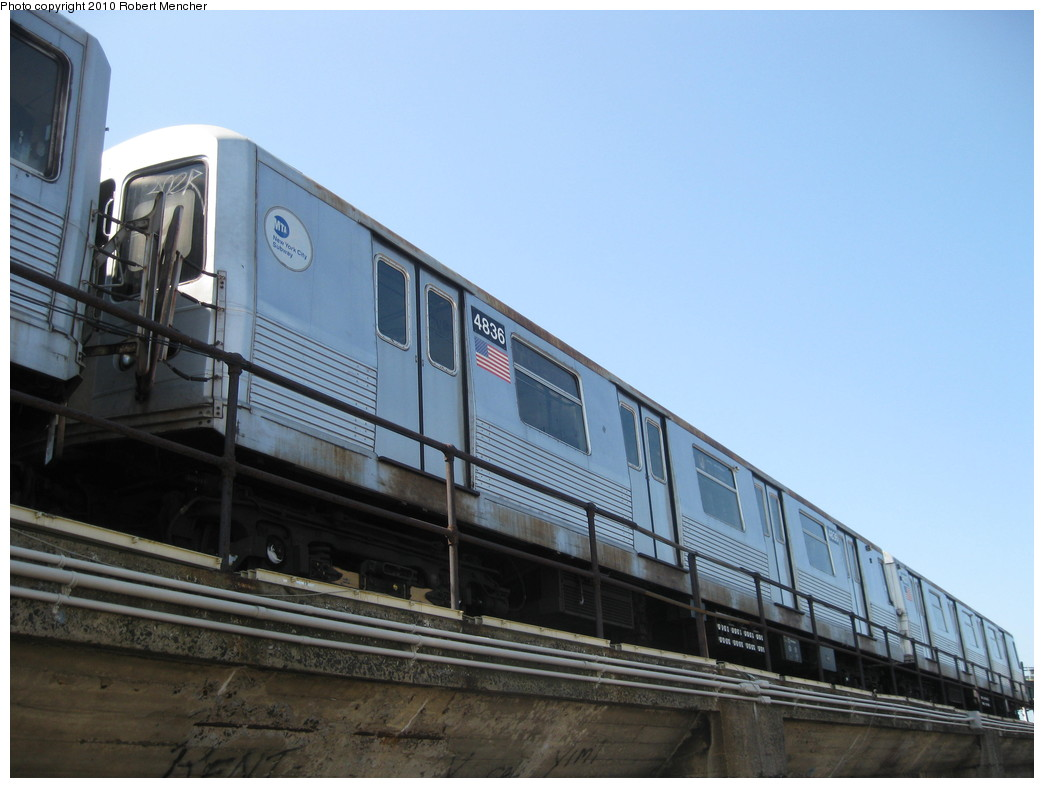 (178k, 1044x788)<br><b>Country:</b> United States<br><b>City:</b> New York<br><b>System:</b> New York City Transit<br><b>Location:</b> East New York Yard/Shops<br><b>Car:</b> R-42 (St. Louis, 1969-1970)  4836 <br><b>Photo by:</b> Robert Mencher<br><b>Date:</b> 4/4/2010<br><b>Viewed (this week/total):</b> 4 / 308