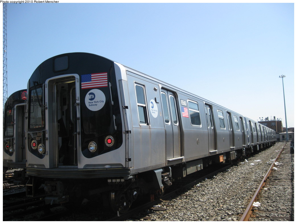 (191k, 1044x788)<br><b>Country:</b> United States<br><b>City:</b> New York<br><b>System:</b> New York City Transit<br><b>Location:</b> East New York Yard/Shops<br><b>Car:</b> R-160A-1 (Alstom, 2005-2008, 4 car sets)  8560 <br><b>Photo by:</b> Robert Mencher<br><b>Date:</b> 4/4/2010<br><b>Viewed (this week/total):</b> 4 / 421
