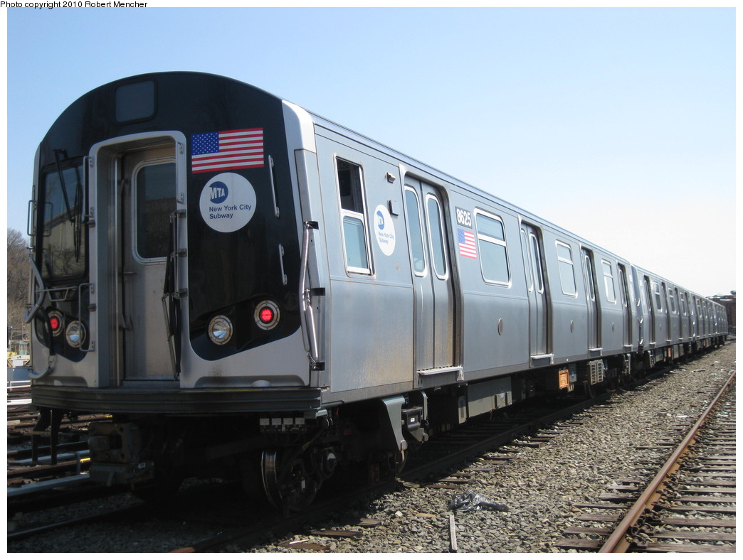 (202k, 1044x788)<br><b>Country:</b> United States<br><b>City:</b> New York<br><b>System:</b> New York City Transit<br><b>Location:</b> East New York Yard/Shops<br><b>Car:</b> R-160A-1 (Alstom, 2005-2008, 4 car sets)  8625 <br><b>Photo by:</b> Robert Mencher<br><b>Date:</b> 4/4/2010<br><b>Viewed (this week/total):</b> 0 / 557