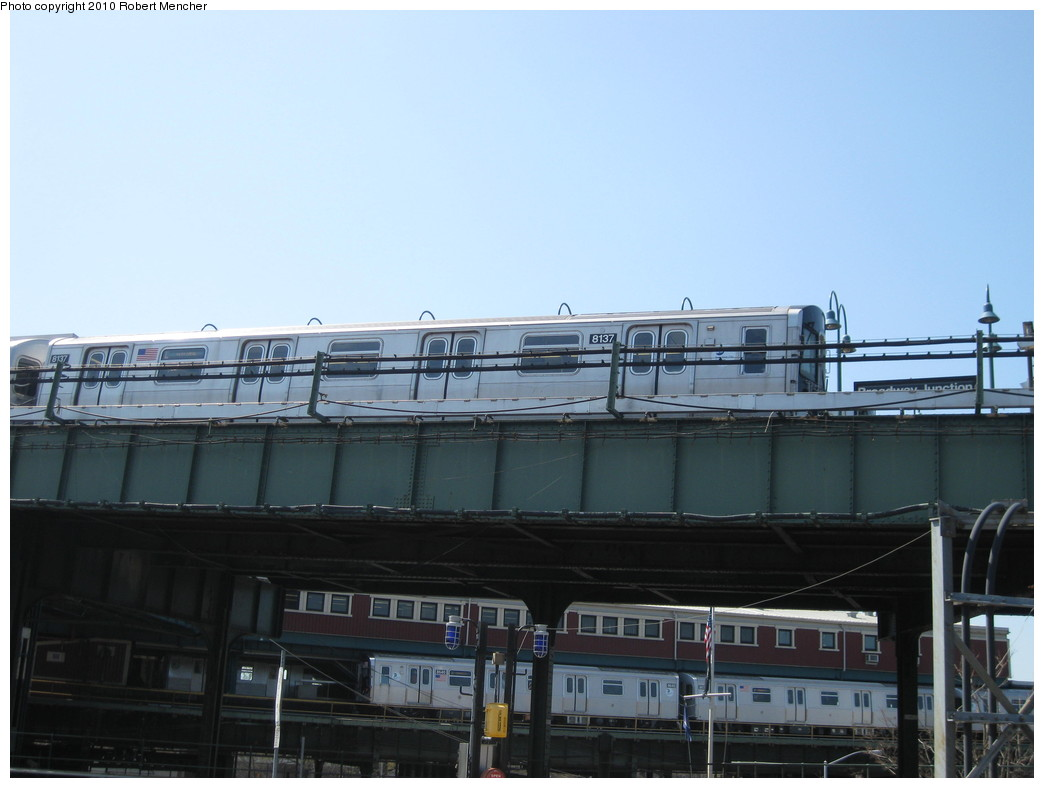 (156k, 1044x788)<br><b>Country:</b> United States<br><b>City:</b> New York<br><b>System:</b> New York City Transit<br><b>Line:</b> BMT Canarsie Line<br><b>Location:</b> Broadway Junction <br><b>Route:</b> L<br><b>Car:</b> R-143 (Kawasaki, 2001-2002) 8137 <br><b>Photo by:</b> Robert Mencher<br><b>Date:</b> 4/4/2010<br><b>Viewed (this week/total):</b> 1 / 435