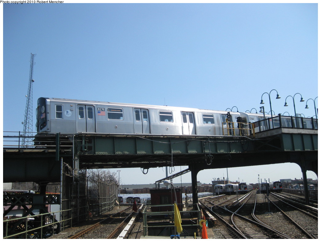 (195k, 1044x788)<br><b>Country:</b> United States<br><b>City:</b> New York<br><b>System:</b> New York City Transit<br><b>Line:</b> BMT Canarsie Line<br><b>Location:</b> Broadway Junction <br><b>Route:</b> L<br><b>Car:</b> R-143 (Kawasaki, 2001-2002) 8276 <br><b>Photo by:</b> Robert Mencher<br><b>Date:</b> 4/4/2010<br><b>Viewed (this week/total):</b> 1 / 615
