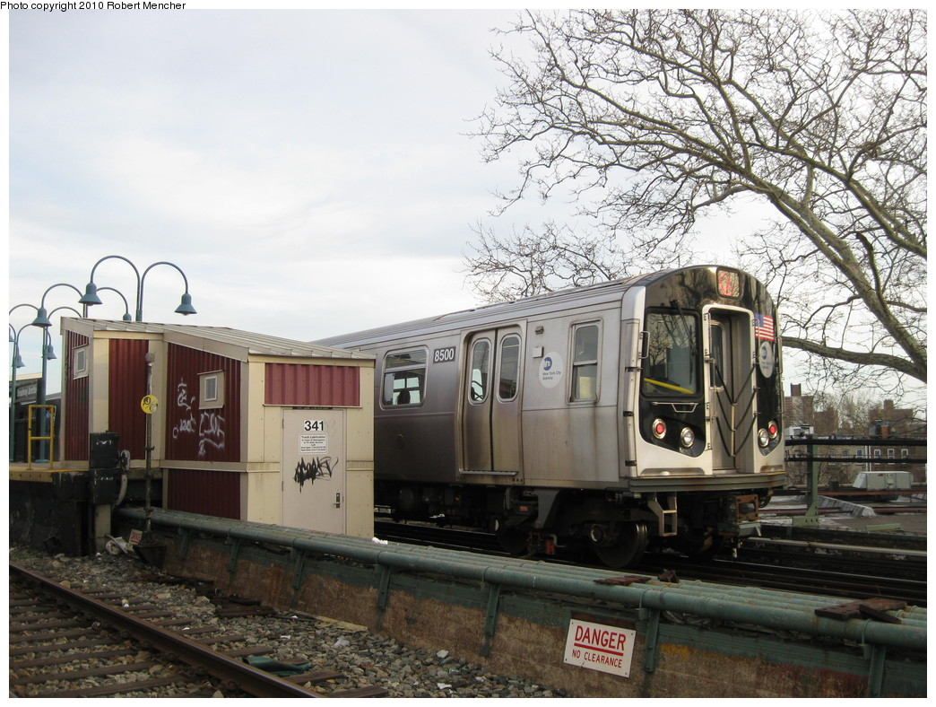 (260k, 1044x788)<br><b>Country:</b> United States<br><b>City:</b> New York<br><b>System:</b> New York City Transit<br><b>Line:</b> BMT Nassau Street/Jamaica Line<br><b>Location:</b> Broadway/East New York (Broadway Junction) <br><b>Route:</b> J<br><b>Car:</b> R-160A-1 (Alstom, 2005-2008, 4 car sets)  8500 <br><b>Photo by:</b> Robert Mencher<br><b>Date:</b> 4/4/2010<br><b>Viewed (this week/total):</b> 3 / 541