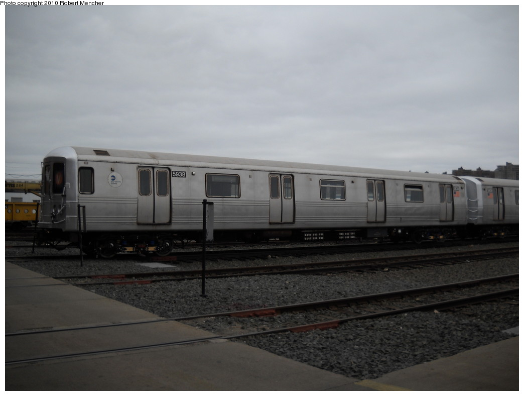(158k, 1044x788)<br><b>Country:</b> United States<br><b>City:</b> New York<br><b>System:</b> New York City Transit<br><b>Location:</b> Coney Island Yard<br><b>Car:</b> R-46 (Pullman-Standard, 1974-75) 5938 <br><b>Photo by:</b> Robert Mencher<br><b>Date:</b> 4/16/2010<br><b>Viewed (this week/total):</b> 1 / 540