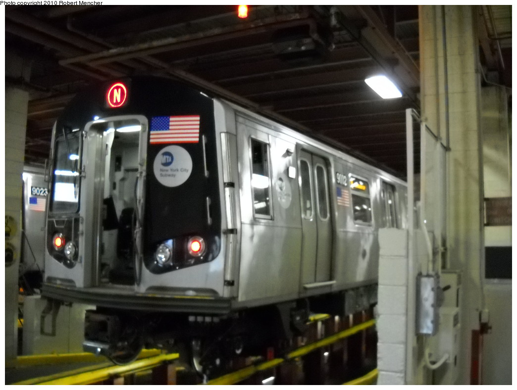 (200k, 1044x788)<br><b>Country:</b> United States<br><b>City:</b> New York<br><b>System:</b> New York City Transit<br><b>Location:</b> Coney Island Shop/Maint. & Inspection Shop<br><b>Car:</b> R-160B (Option 1) (Kawasaki, 2008-2009)  9032 <br><b>Photo by:</b> Robert Mencher<br><b>Date:</b> 4/16/2010<br><b>Viewed (this week/total):</b> 1 / 545