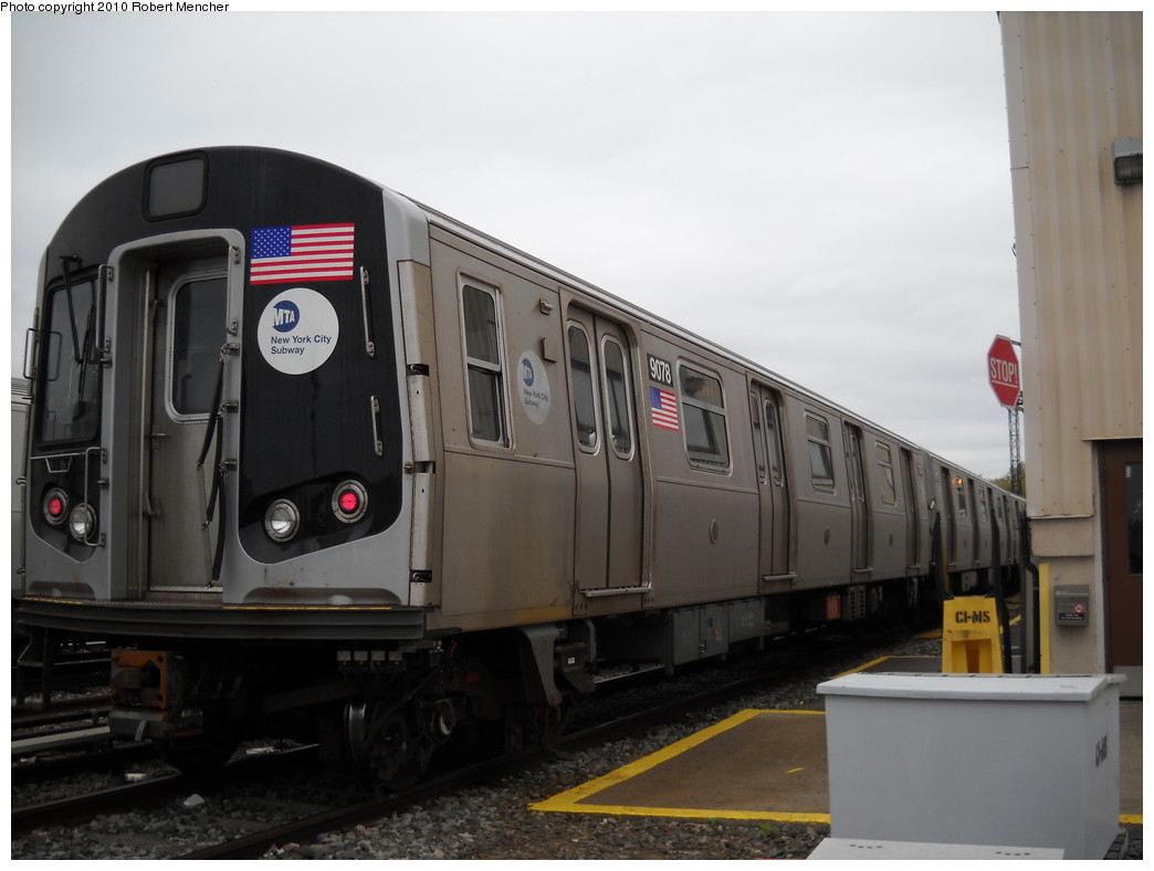 (179k, 1044x788)<br><b>Country:</b> United States<br><b>City:</b> New York<br><b>System:</b> New York City Transit<br><b>Location:</b> Coney Island Yard<br><b>Car:</b> R-160B (Option 1) (Kawasaki, 2008-2009)  9078 <br><b>Photo by:</b> Robert Mencher<br><b>Date:</b> 4/16/2010<br><b>Viewed (this week/total):</b> 0 / 355