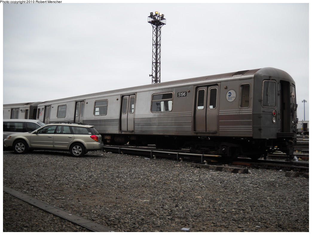 (228k, 1044x788)<br><b>Country:</b> United States<br><b>City:</b> New York<br><b>System:</b> New York City Transit<br><b>Location:</b> Coney Island Yard<br><b>Car:</b> R-68A (Kawasaki, 1988-1989)  5196 <br><b>Photo by:</b> Robert Mencher<br><b>Date:</b> 4/16/2010<br><b>Viewed (this week/total):</b> 1 / 502