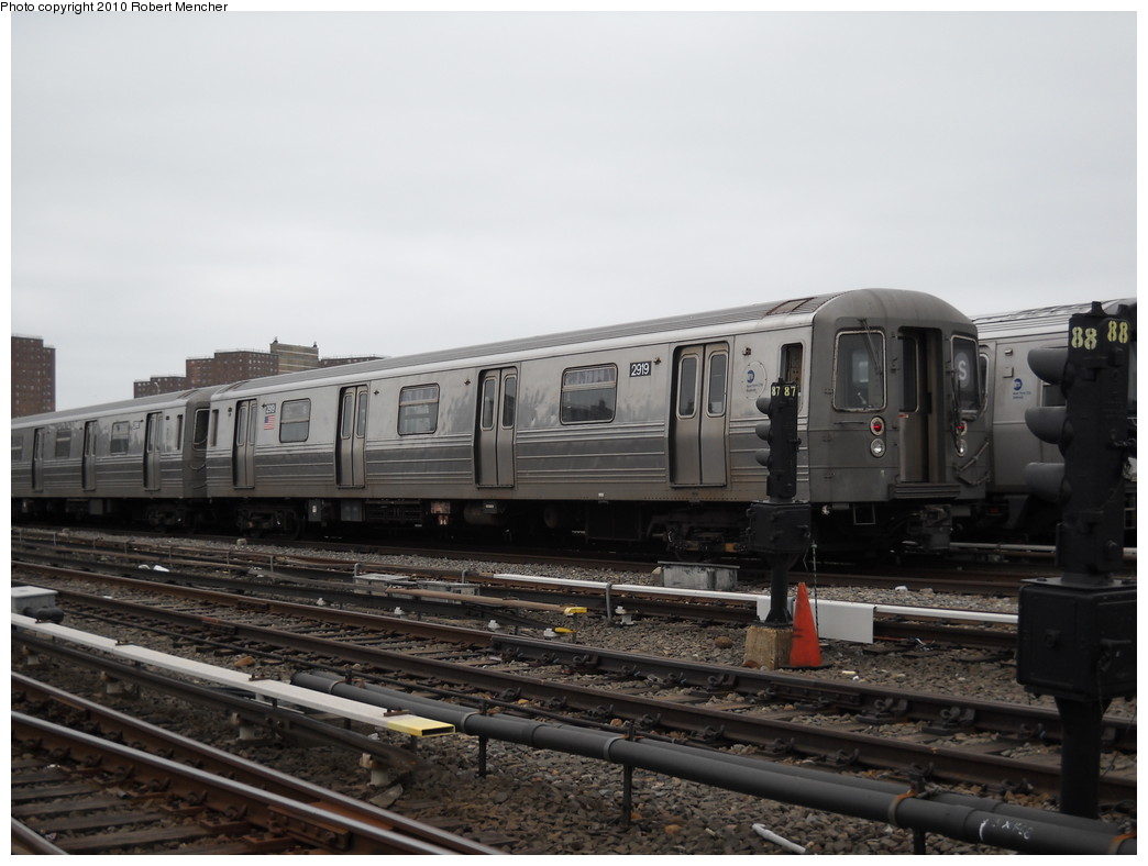 (199k, 1044x788)<br><b>Country:</b> United States<br><b>City:</b> New York<br><b>System:</b> New York City Transit<br><b>Location:</b> Coney Island Yard<br><b>Car:</b> R-68 (Westinghouse-Amrail, 1986-1988)  2919 <br><b>Photo by:</b> Robert Mencher<br><b>Date:</b> 4/16/2010<br><b>Viewed (this week/total):</b> 2 / 779