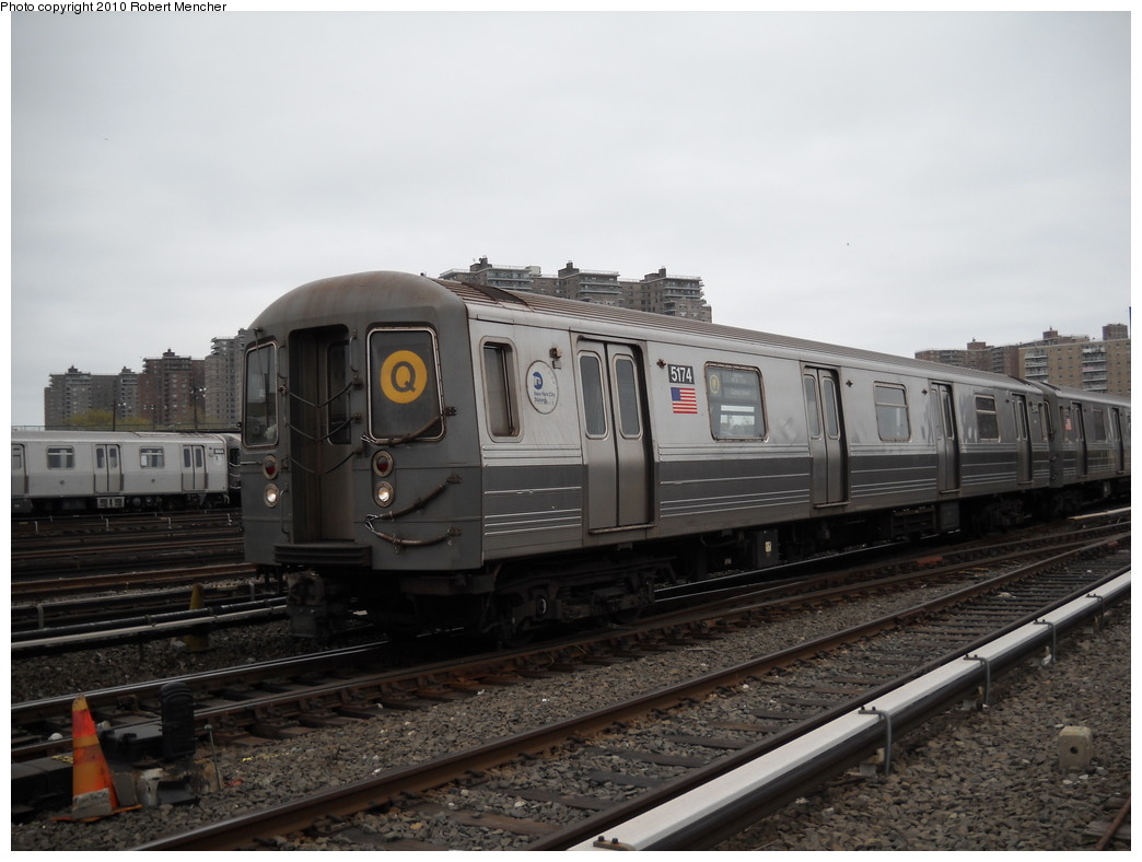 (205k, 1044x788)<br><b>Country:</b> United States<br><b>City:</b> New York<br><b>System:</b> New York City Transit<br><b>Location:</b> Coney Island Yard<br><b>Car:</b> R-68A (Kawasaki, 1988-1989)  5174 <br><b>Photo by:</b> Robert Mencher<br><b>Date:</b> 4/16/2010<br><b>Viewed (this week/total):</b> 1 / 379