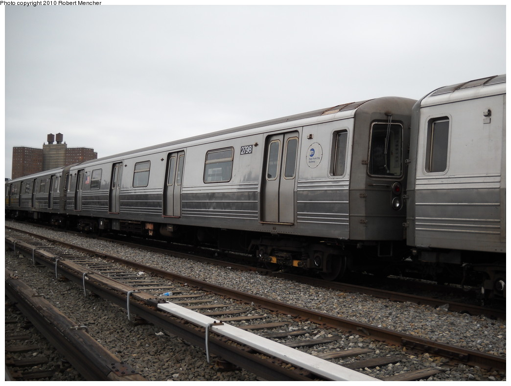 (213k, 1044x788)<br><b>Country:</b> United States<br><b>City:</b> New York<br><b>System:</b> New York City Transit<br><b>Location:</b> Coney Island Yard<br><b>Car:</b> R-68 (Westinghouse-Amrail, 1986-1988)  2798 <br><b>Photo by:</b> Robert Mencher<br><b>Date:</b> 4/16/2010<br><b>Viewed (this week/total):</b> 1 / 261