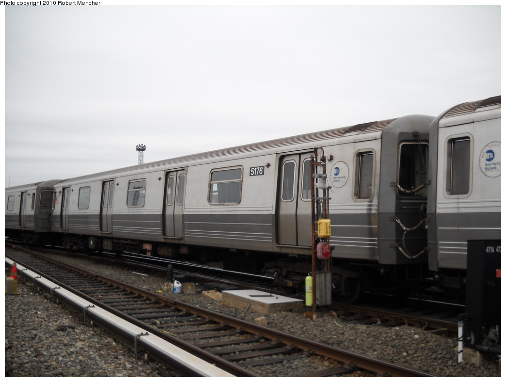 (183k, 1044x788)<br><b>Country:</b> United States<br><b>City:</b> New York<br><b>System:</b> New York City Transit<br><b>Location:</b> Coney Island Yard<br><b>Car:</b> R-68A (Kawasaki, 1988-1989)  5176 <br><b>Photo by:</b> Robert Mencher<br><b>Date:</b> 4/16/2010<br><b>Viewed (this week/total):</b> 2 / 275