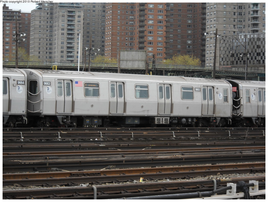 (272k, 1044x788)<br><b>Country:</b> United States<br><b>City:</b> New York<br><b>System:</b> New York City Transit<br><b>Location:</b> Coney Island Yard<br><b>Car:</b> R-160A (Option 2) (Alstom, 2009, 5-car sets)  9663 <br><b>Photo by:</b> Robert Mencher<br><b>Date:</b> 4/16/2010<br><b>Viewed (this week/total):</b> 0 / 488