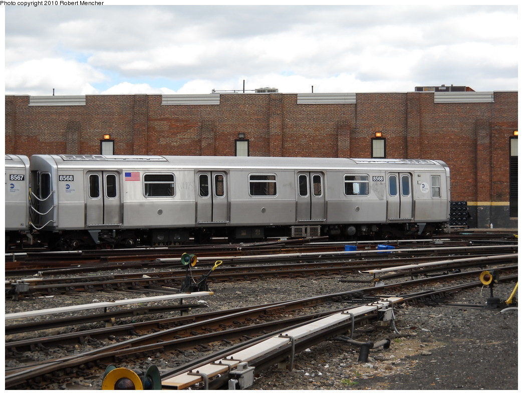 (283k, 1044x788)<br><b>Country:</b> United States<br><b>City:</b> New York<br><b>System:</b> New York City Transit<br><b>Location:</b> East New York Yard/Shops<br><b>Car:</b> R-160A-1 (Alstom, 2005-2008, 4 car sets)  8568 <br><b>Photo by:</b> Robert Mencher<br><b>Date:</b> 4/18/2010<br><b>Viewed (this week/total):</b> 0 / 294