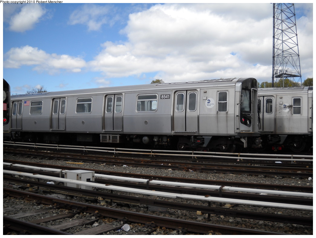 (227k, 1044x788)<br><b>Country:</b> United States<br><b>City:</b> New York<br><b>System:</b> New York City Transit<br><b>Location:</b> East New York Yard/Shops<br><b>Car:</b> R-160A-1 (Alstom, 2005-2008, 4 car sets)  8541 <br><b>Photo by:</b> Robert Mencher<br><b>Date:</b> 4/18/2010<br><b>Viewed (this week/total):</b> 0 / 215