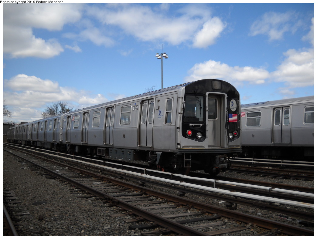 (220k, 1044x788)<br><b>Country:</b> United States<br><b>City:</b> New York<br><b>System:</b> New York City Transit<br><b>Location:</b> East New York Yard/Shops<br><b>Car:</b> R-143 (Kawasaki, 2001-2002) 8109 <br><b>Photo by:</b> Robert Mencher<br><b>Date:</b> 4/18/2010<br><b>Viewed (this week/total):</b> 3 / 213