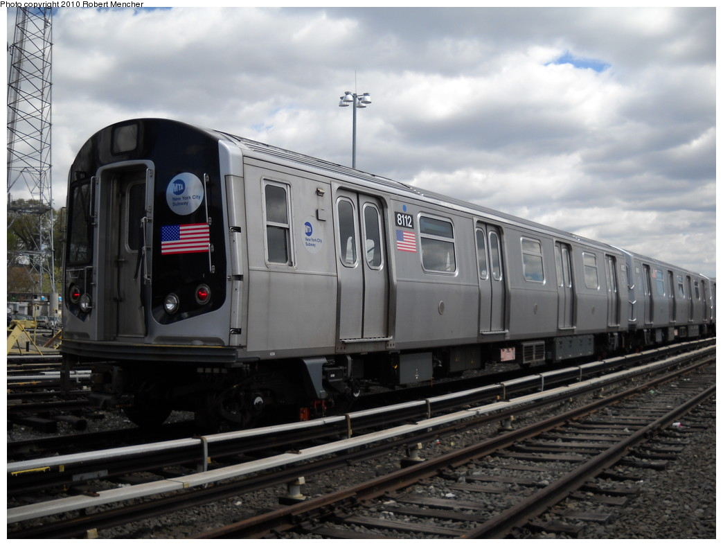 (218k, 1044x788)<br><b>Country:</b> United States<br><b>City:</b> New York<br><b>System:</b> New York City Transit<br><b>Location:</b> East New York Yard/Shops<br><b>Car:</b> R-143 (Kawasaki, 2001-2002) 8112 <br><b>Photo by:</b> Robert Mencher<br><b>Date:</b> 4/18/2010<br><b>Viewed (this week/total):</b> 0 / 248