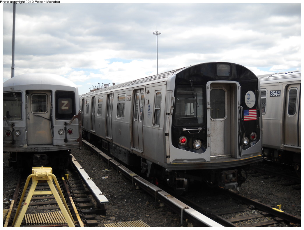 (215k, 1044x788)<br><b>Country:</b> United States<br><b>City:</b> New York<br><b>System:</b> New York City Transit<br><b>Location:</b> East New York Yard/Shops<br><b>Car:</b> R-143 (Kawasaki, 2001-2002) 8296 <br><b>Photo by:</b> Robert Mencher<br><b>Date:</b> 4/18/2010<br><b>Viewed (this week/total):</b> 3 / 393
