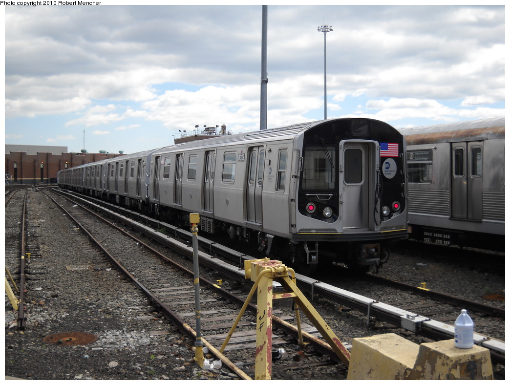 (254k, 1044x788)<br><b>Country:</b> United States<br><b>City:</b> New York<br><b>System:</b> New York City Transit<br><b>Location:</b> East New York Yard/Shops<br><b>Car:</b> R-160A-1 (Alstom, 2005-2008, 4 car sets)  8313 <br><b>Photo by:</b> Robert Mencher<br><b>Date:</b> 4/18/2010<br><b>Viewed (this week/total):</b> 0 / 321