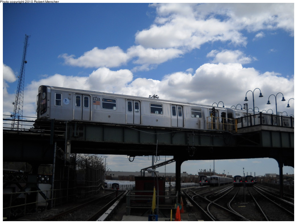 (191k, 1044x788)<br><b>Country:</b> United States<br><b>City:</b> New York<br><b>System:</b> New York City Transit<br><b>Line:</b> BMT Canarsie Line<br><b>Location:</b> Broadway Junction <br><b>Route:</b> L<br><b>Car:</b> R-143 (Kawasaki, 2001-2002) 8165 <br><b>Photo by:</b> Robert Mencher<br><b>Date:</b> 4/18/2010<br><b>Viewed (this week/total):</b> 0 / 490